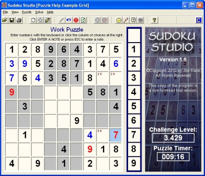 Sudoku Studio 1.6 screenshot