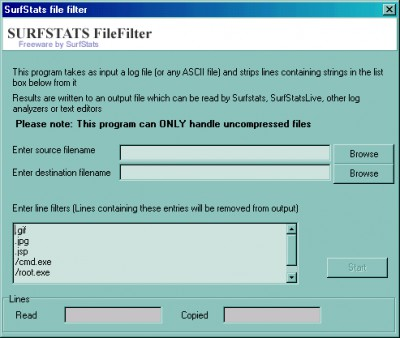 Surfstats FileFilter 1.0 screenshot