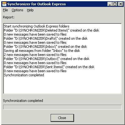 Synchronizer for Outlook Express 3.40 screenshot