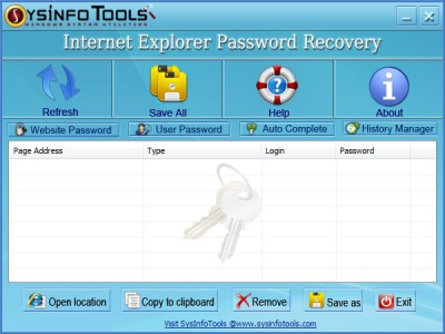 SysInfoTools IE Password Recovery 1.01 screenshot