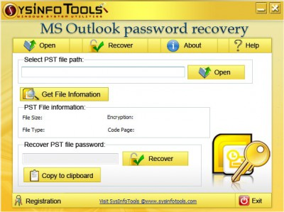 SysInfoTools MS Outlook Password Recovery 3.01 screenshot