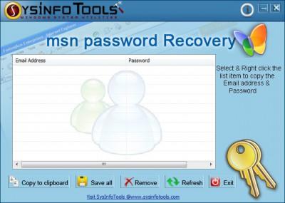 SysInfoTools MSN Password Recovery 1.01 screenshot