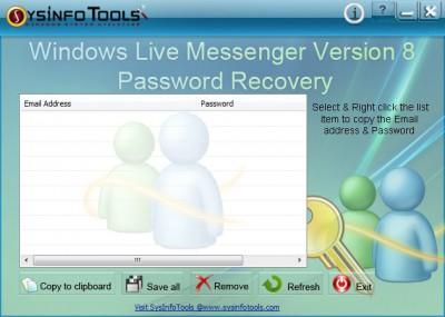 SysInfoTools Windows Live Messenger Password Recov 1.01 screenshot