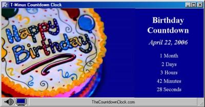 T-Minus Birthday Countdown 6.0 screenshot