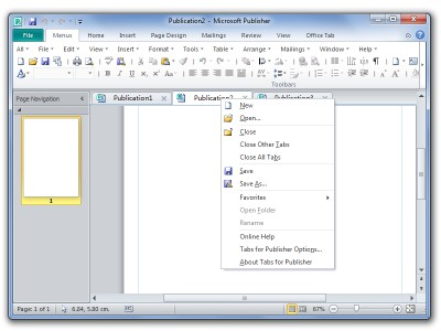 Tabs for Publisher x64 8.00 screenshot