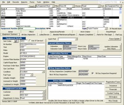 TATEMS Fleet Maintenance Software 3.1.02c screenshot