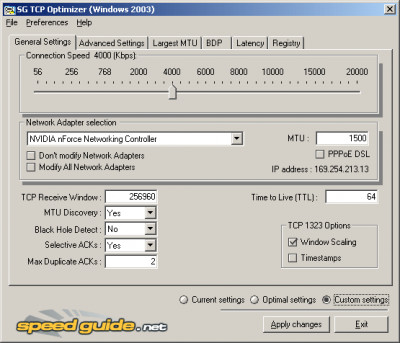 TCP Optimizer 4.0.6 screenshot