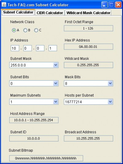 Tech-FAQ.com Subnet Calculator 1.0 screenshot
