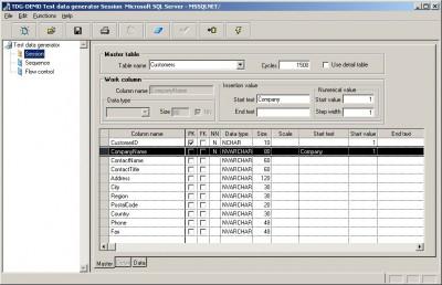 Test data generator TDG 2.0 screenshot
