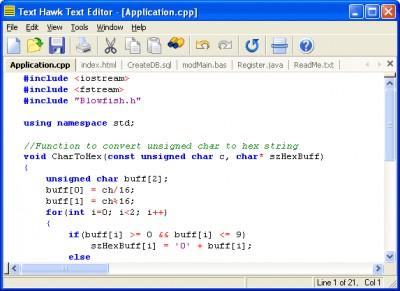 Text Hawk Text Editor 5.01 screenshot