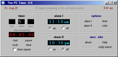 The PC Timer 4.0 screenshot