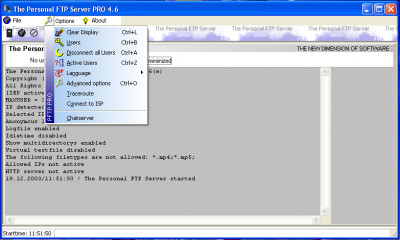 The Personal FTP Server 8.0f screenshot