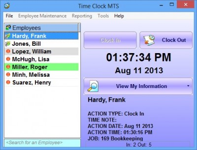 Time Clock MTS 5.1.8 screenshot