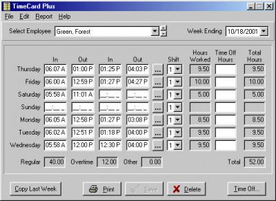 TimeCard Plus 3.7.1 screenshot
