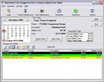 Timesheets Lite 2.2.22 screenshot