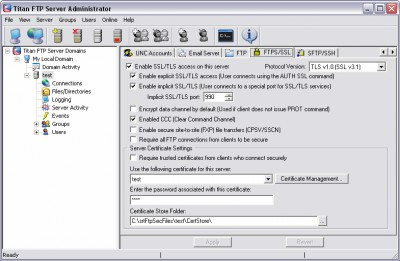 Titan FTP Server 10.21 screenshot