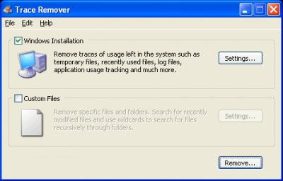 Trace Remover 1.3 screenshot