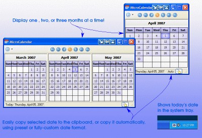 Tray Calendar - MicroCalendar 2.0 screenshot