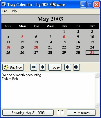 Tray Calendar 2.8g screenshot