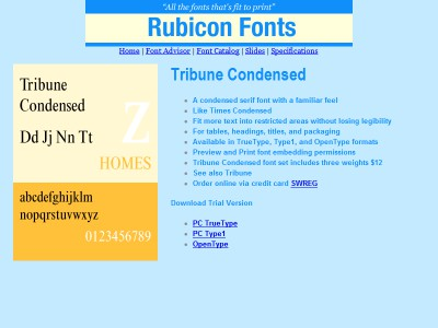 Tribune Condensed Font Type1 2.00 screenshot