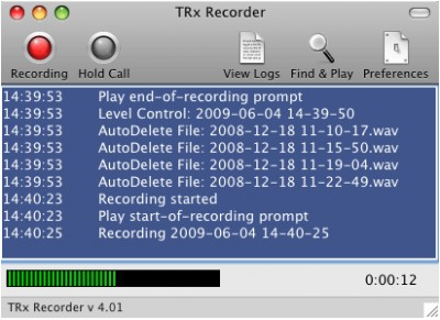 TRx Personal Phone Call Recorder for Mac 4.31 screenshot