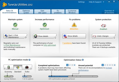 TuneUp Utilities 2012 12.0.3010. screenshot