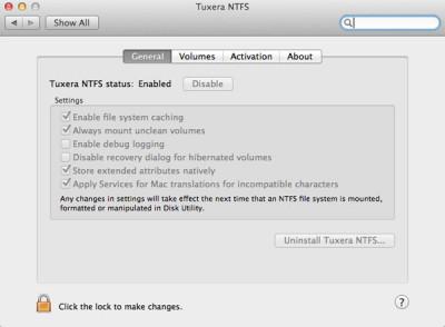 Tuxera NTFS for Mac 2018.9 screenshot
