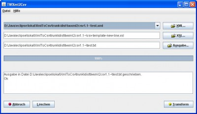 TWXml2Csv 1.2.0 screenshot