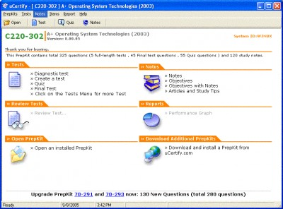 uCertify - A+2003 Practice Test for Exam 220-302 - 8.02.05 screenshot