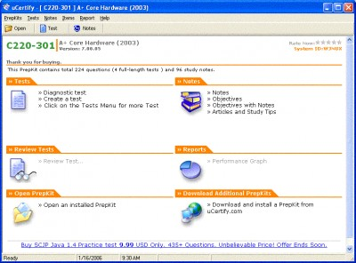 uCertify - A+2003 Practice Test for Exam 220-301 - 8.02.05 screenshot