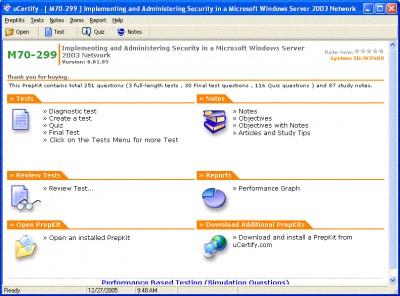 uCertify - MCSE-2003 Practice Test for Exam 70-299 8.01.05 screenshot