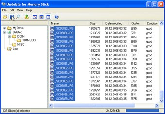 Undelete Memory Stick 2.1 screenshot