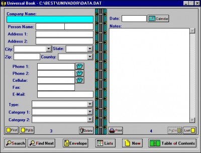 Universal Address/Phone Book 5.1 screenshot