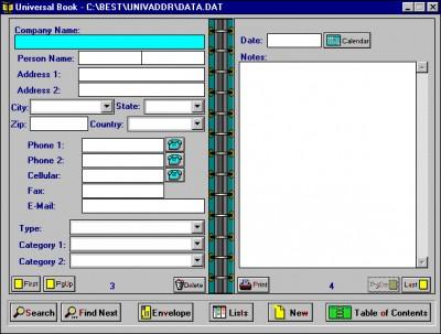 Universal Address/Phone Book 5.1 screenshot