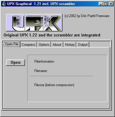 UPX Graphical 1.39b screenshot