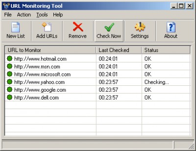 URL Monitoring Tool 2.95 screenshot