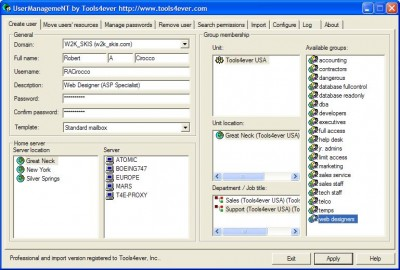 User Management Lite - Windows Users Management Ad 5.4 screenshot
