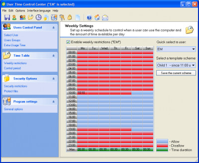User Time Control 6.1.2.9 screenshot
