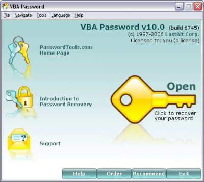 VBA Password 10.1.6805 screenshot