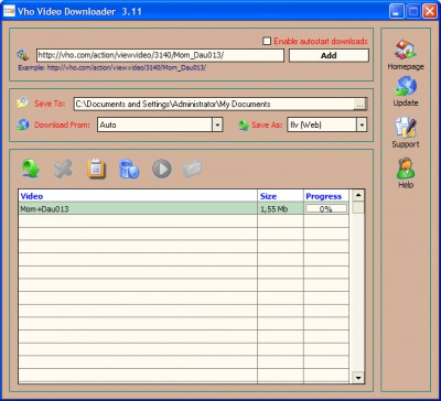 Vho  Video Downloader 3.17 screenshot