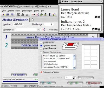 VidEd -- Videoverwaltung mit Etikettendruck 6.02 screenshot