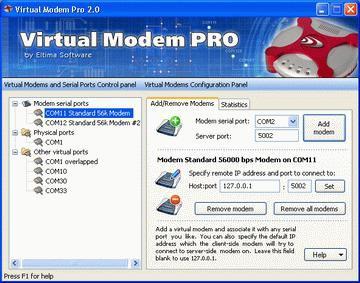 Virtual Modem PRO 3.0 screenshot