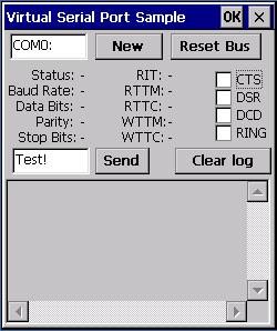 Virtual Serial Port ActiveX CE 3.1 screenshot
