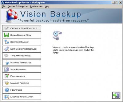 Vision Backup Server 10 screenshot