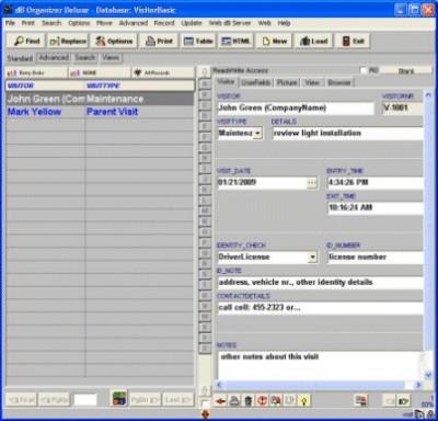 Visitor Organizer Deluxe 4.11 screenshot