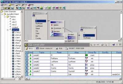 Visual SQL-Designer 4.01 screenshot