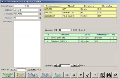 vZ-Inventur für PC (Access XP) 1.5 screenshot