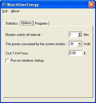 WatchOverEnergy 1.1 screenshot