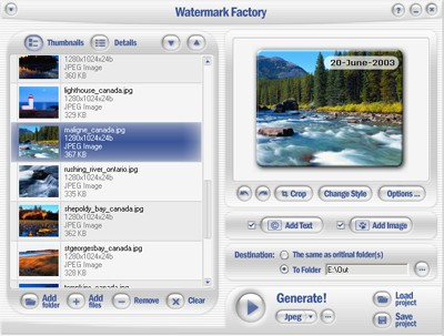 Watermark Factory - advanced watermark creator 2.58 screenshot