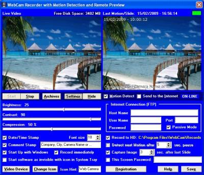 Web Camera Security - for Windows XP 2.00 screenshot